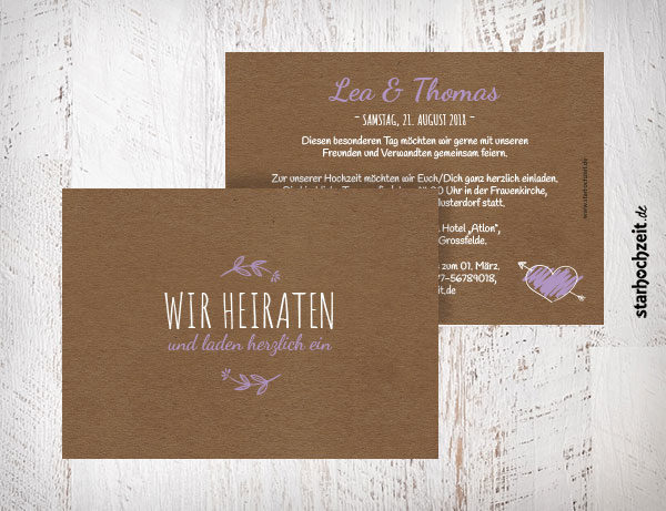 Hochzeitskarten Einladung flieder, lila, Herz und Blumen