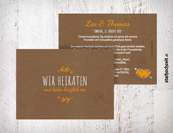 Hochzeiteinladungskarten gelb