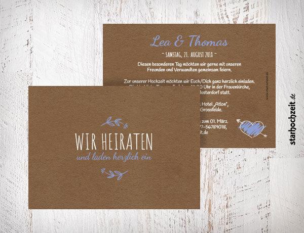 Hochzeitseinladungskarte hellblau, mit Herz und Blumen