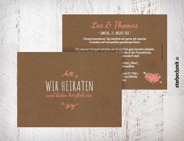 """Einladungskarte """"Wir heiraten und laden herzlich ein"""" - Farbe rosa, rose"""