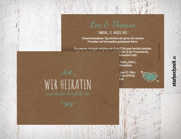 """Hochzeitseinladungen """"Wir heiraten und laden herzlich ein"""" - Farbe türkis mit Herz"""