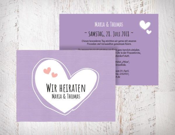 Hochzeitseinladungen violett Flieder - Maria mit Herzen auch in beige, grün und blush erhältlich. Die Hochzeitseinladungen Maria mit Herzen gibt es in 4 Farben. Gestalte deine Einladungskarten in drei einfachen Schritten in unserem Designertool fertig. | Mustertext | starhochzeit.de
