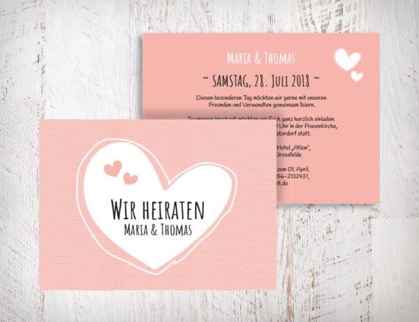Hochzeitseinladungen blush hellrosa - Maria mit Herzen auch in beige, grün und violett erhältlich. Die Hochzeitseinladungen Maria mit Herzen gibt es in 4 Farben. Gestalte deine Einladungskarten in drei einfachen Schritten in unserem Designertool fertig. | Mustertext | starhochzeit.de