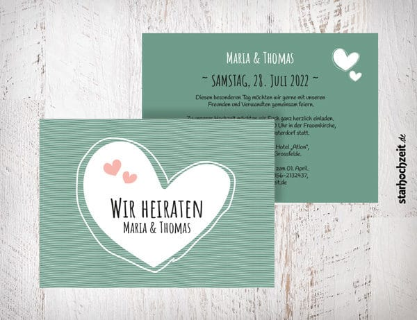Hochzeitseinladungen grün - Maria mit Herzen auch in blush, beige, violett Die Hochzeitseinladungen Maria mit Herzen gibt es in 4 Farben. Gestalte deine Einladungskarten in drei einfachen Schritten in unserem Designertool fertig. | starhochzeit.de