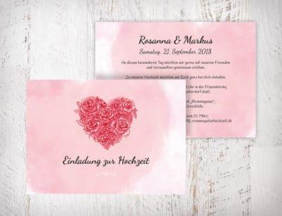 Hochzeitseinladungen Herz aus Rosen – Rosanna | Diese Hochzeitseinladungen mit einem gezeichneten Herz aus roten Rosen auf rosa Aquarell-Hintergrund bekommst du nur hier. Einfach im Designertool selber fertig gestalten | Mustertext mit Schrift und Farbe sind veränderbar | starhochzeit.de