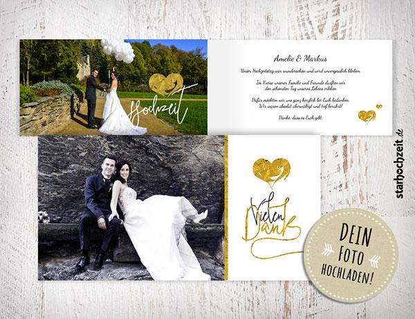 Dankeskarten, Hochzeit, Dankeskarte Amelie, Herzmuster, goldenes Herz, vintage, weiss, Vielen Dank, Foto Hochzeitspaar, eigenes Foto hochladen