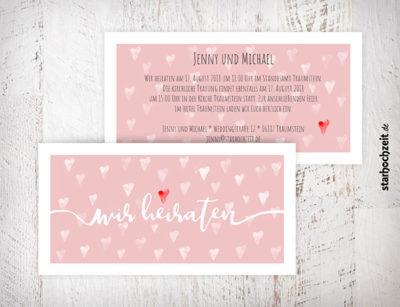 Hochzeitseinladungskarte, Jenny, Herzmuster, rosa, vintage, weiss, rotes Herz. Liebe Hochzeit