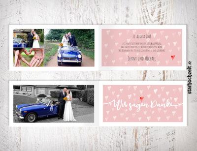 Dankeskarten, Hochzeit, Dankeskarte Jenny, Herzmuster, altrosa, vintage, weiss, Wir sagen Danke, Foto Hochzeitspaar, eigenes Foto hochladen