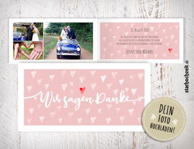 Dankeskarten Hochzeit, Dankeskarte Jenny, Herzmuster, altrosa, vintage, weiss, Wir sagen Danke, Foto Hochzeitspaar, eigenes Foto hochladen