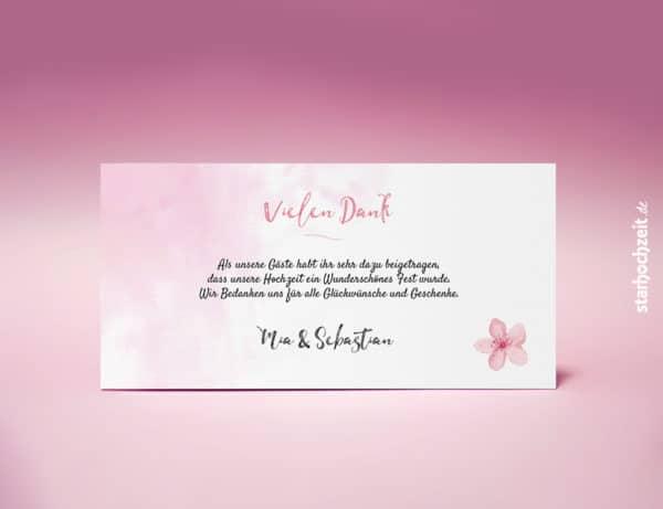 Dankeskarten, Danksagungskarte Hochzeit, Dankeskarte Mia, Blumen, floral, vintage, weiss, Dankeschön