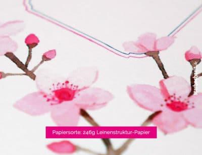 Detail Hochzeitseinladung Kirschblüten – Serie Mia – Aquarell auf Leinenstruktur-Karton in zartrosa, Hochzeitseinladungen einfach online selber gestalten im Designertool, Mustertexte änderbar, Textfarben änderbar | starhochzeit.de