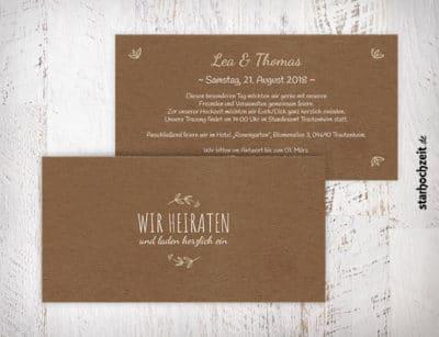 Einladung zur Hochzeit, beige, Kraftpapier, Wir heiraten, Einladungskarte, Einladungskarten, Hochzeitseinladung, Hochzeitseinladungen, Hochzeitseinladungskarte, Hochzeiteinladungskarten