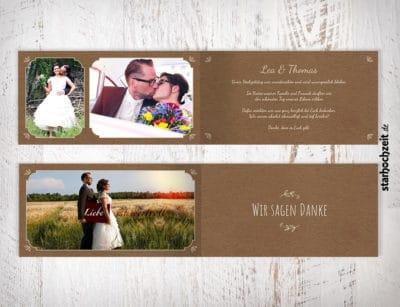 Dankeskarte, Danksagungskarte, Danksagung, Dankeskarten Hochzeit, beige, Kraftpapier, Wir sagen Danke, Klappkarte, 4 Seiten, Dinlang