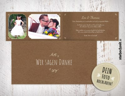 Dankeskarten Hochzeit, mit Foto, Dankeskarte, Danksagungskarte, Danksagung Hochzeit, beige, Kraftpapier, Wir sagen Danke, Klappkarte, 4 Seiten, Dinlang