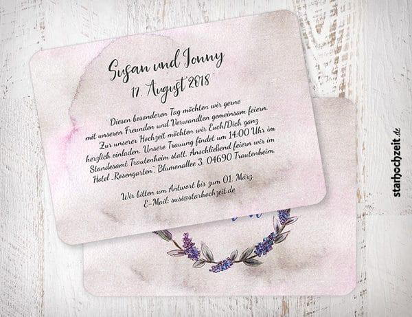 Einladungskarte zur Hochzeit, Susan und Jonny, Wir heiraten, Wir sagen ja, Hochzeitseinladungskarte