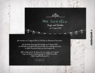 Hochzeitseinladungskarte Tanja, Schiefertafel, Einladungskarte zur Hochzeit, Wir heiraten