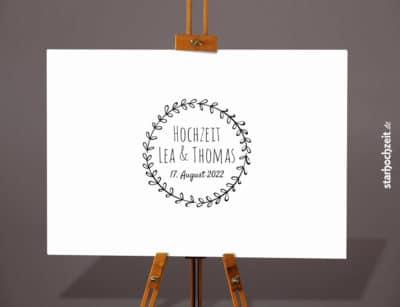 Leinwand - Lea & Thomas - Gästebuch mit Euren Namen und Hochzeitstag