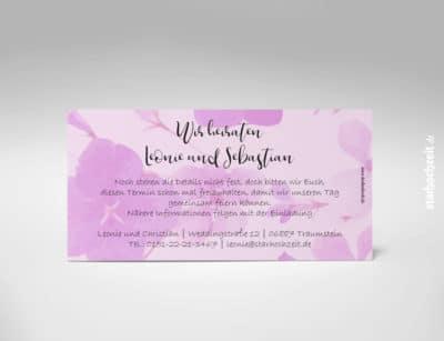 Rückseite: Save the Date Karte, Hochzeit, zweiseitige Hochzeitskarte, Din lang, Querformat, modern, zart rosa Blumenmotiv, monochrom, weiße Kaligrafie Schrift, besonders, zeitlos, elegant, Mustertext, veränderbare Farbe der Schrift in blau, rot, grau, grün, starhochzeit