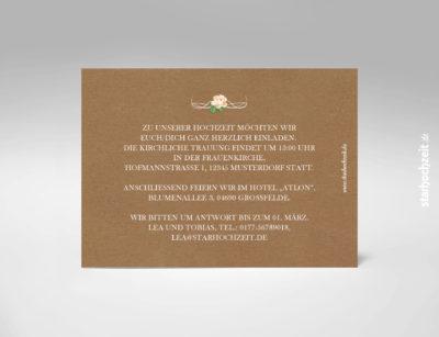 Hochzeitseinladung, Kraftpapier, Natur, Blumen