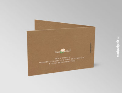 Einladung Hochzeit, Klappkarte, Kraftpapier, Natur, Blumen