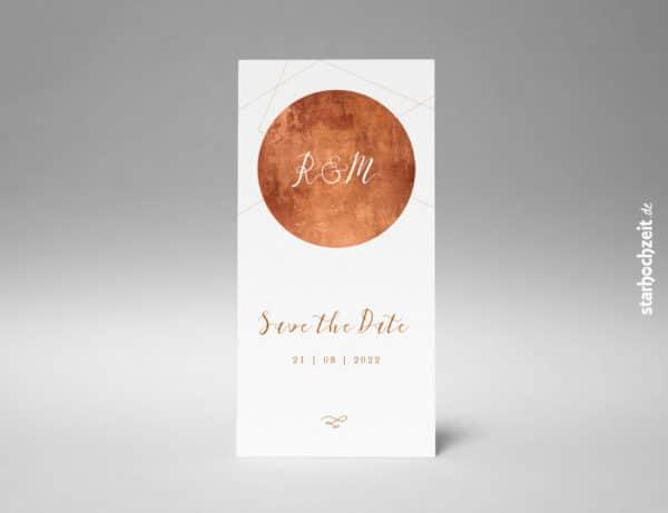 Save the Date Karte, elegant, kupfer, aussergewöhnliche Hochzeitseinladung