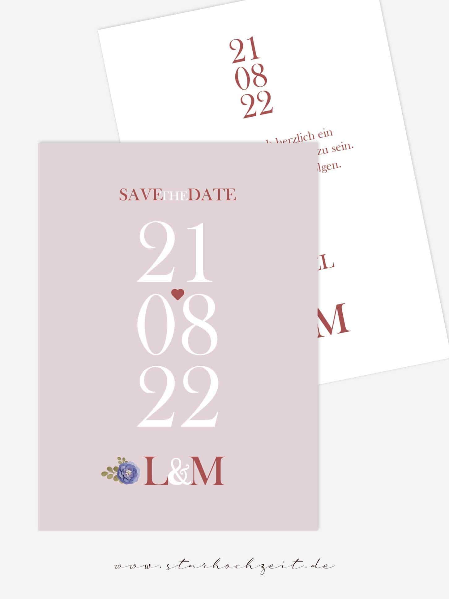 Save the Date Karten, Hochzeitseinladung, Blush, Rosa, Rosé, Kupfer, Hochzeitsdatum, Initialien, Blumen
