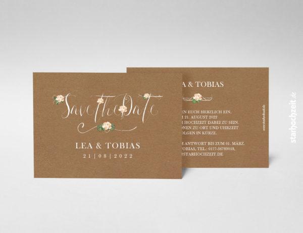 Save-the-Date Karte, Kraftpapier, natur, Blumen