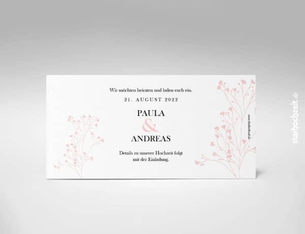 Save the Date Karte, elegant, blush, Blumen, aussergewöhnliche Hochzeitseinladung