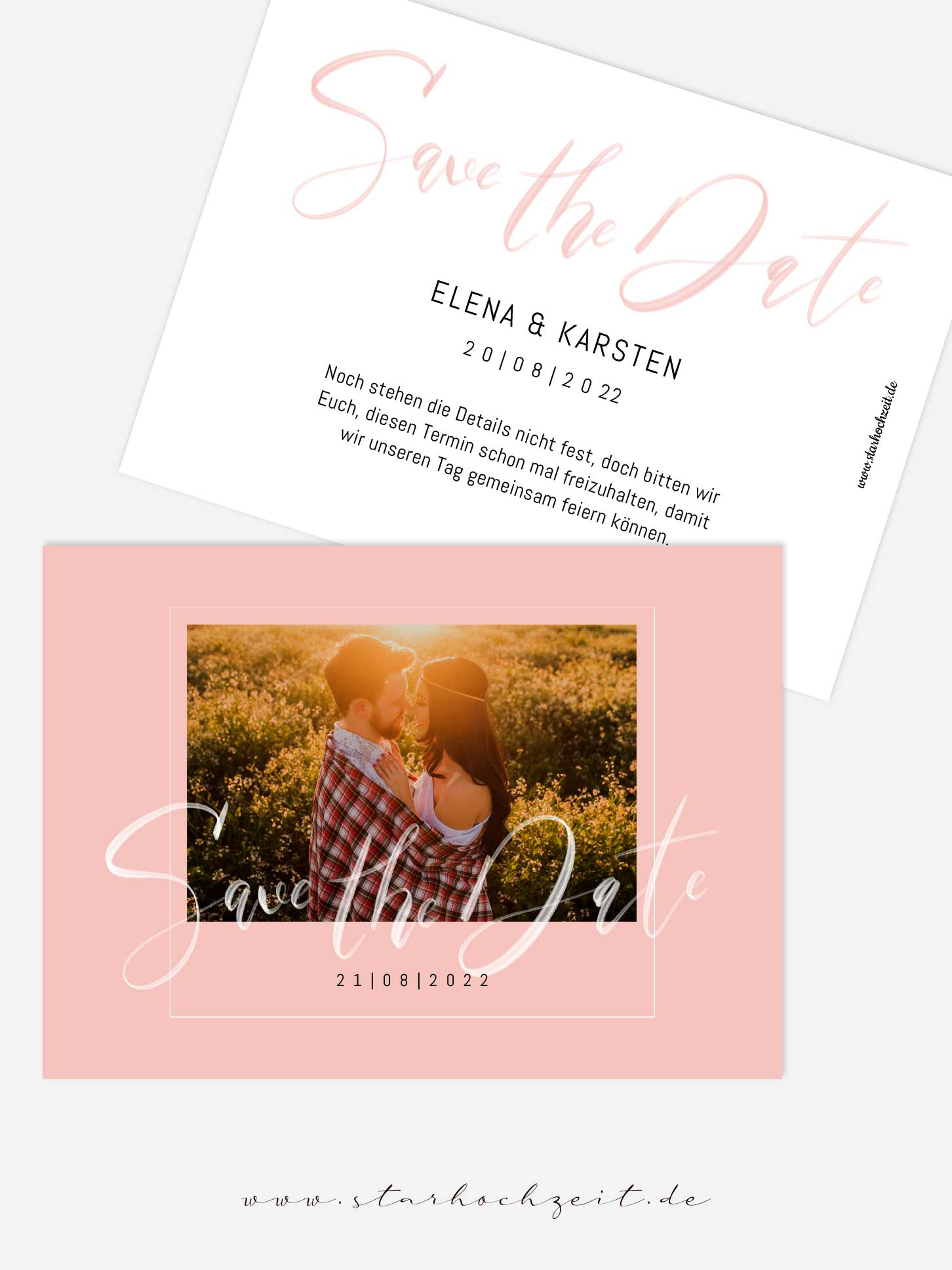 Save-the-Date Karte mit deinem Foto in rosa, blush