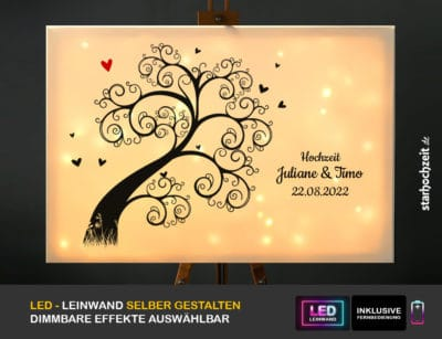 Hochzeit Gästebuch Alternative Motiv Hochzeitsbaum mit rotem Herz vorn leuchtend
