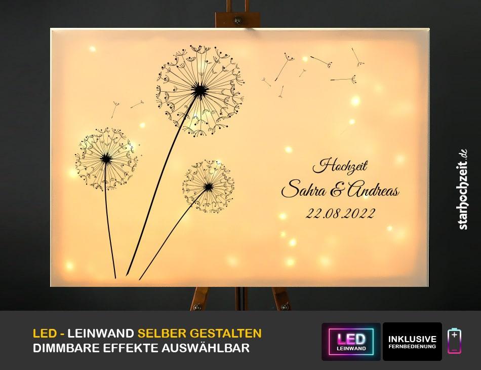 Hochzeit Gästebuch Alternative Motiv Löwenzahn vorn leuchtend