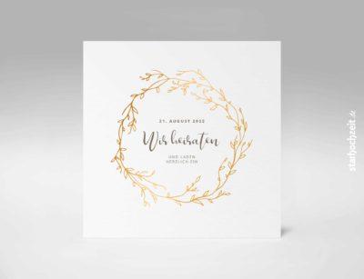 Einladungskarten Hochzeit, Blumengold - Quadrat, Goldene Hochzeit, Einladungskarte, Goldene Hochzeit, Einladungskarte Hochzeit, Einladung Hochzeit