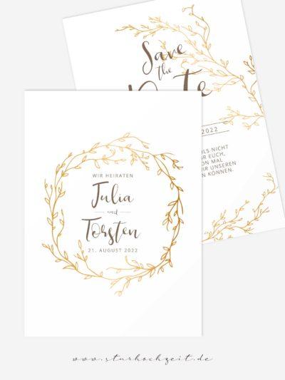 Save the Date, Hochzeit, Hochzeitsankündigung, Farbkonzept Gold weiss, Gold weiß
