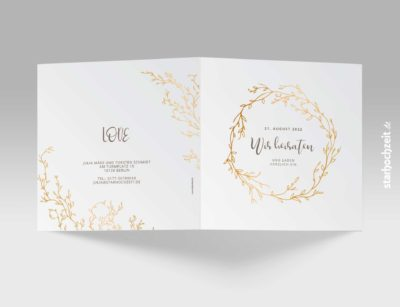 Einladungskarten Hochzeit Blumengold - Quadrat, Klappkarte Goldene Hochzeit, Einladungskarte, Goldene Hochzeit, Einladungskarte Hochzeit, Einladung Hochzeit