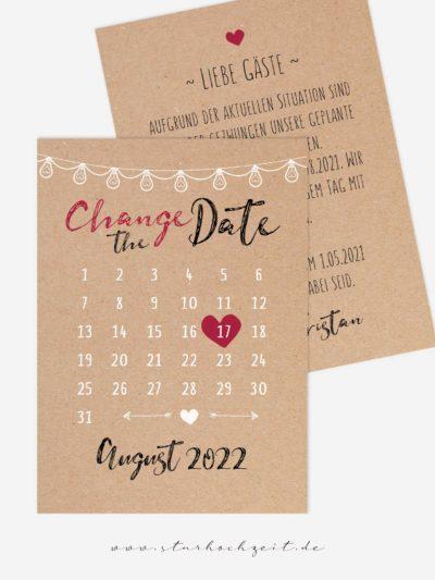 Change-the-Date Karten – Kalenderherz – Karte mit rot/schwarzem Kalligrafie-Schriftzug