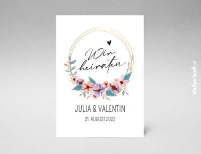 Einladungskarten Hochzeit Blumenkreis - Goldene Hochzeit, Einladungskarte, Goldene Hochzeit, Einladungskarte Hochzeit, Einladung Hochzeit