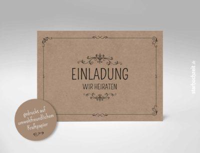 Einladungskarten Hochzeit Kraftpapier, Goldene Hochzeit, Einladungskarte, Goldene Hochzeit, Einladungskarte Hochzeit, Einladung Hochzeit