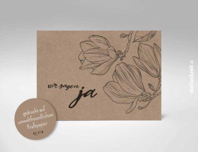 Einladungskarten Hochzeit Kraftpapier, wir sagen ja - Kraftpapier Vintage Liebe, Love, Blumen, Magnolie