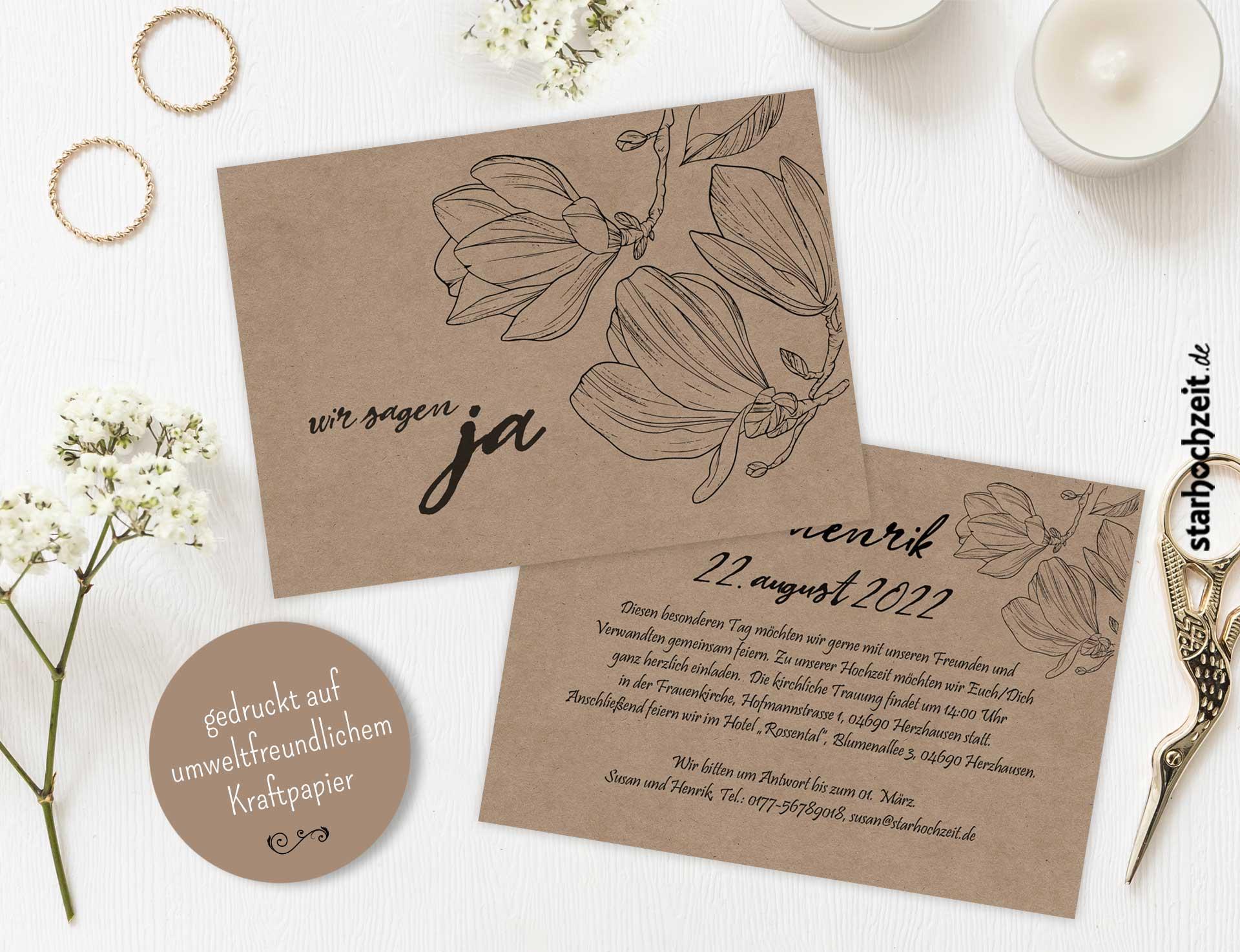 Wir sagen ja Hochzeitskarte auch mit Foto möglich! Einladung zur Hochzeit