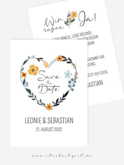 Save-the-Date Hochzeitskarten, Kraftpapier, natur, natürlich, Herz, Blumen
