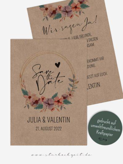 Save the Date Karten, Kraftpapier mit Blumen Aquarell, Vintage, Natur, Landhausstil, rustikal