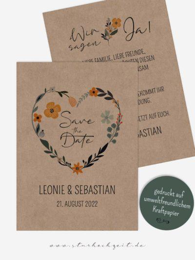 Save the Date Karte, Blumenherz, Kraftpapier, Vintage, Banderole, Date Karten