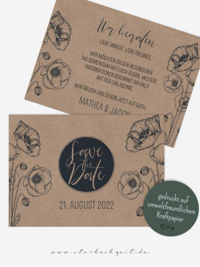 Save the Date Karten, Blaue Mohnblume, echtes Kraftpapier