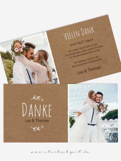 Danksagungskarte Lea im Kraftpapier - Look, Hochzeitsfoto einfügen, Dankeskarte zur Goldenen Hochzeit