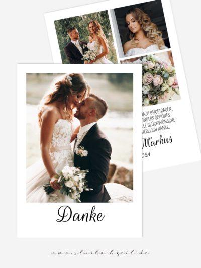 Dankeskarten Hochzeit - Liebesglück modern und edel, Hochzeitsfotos auf beiden Seiten