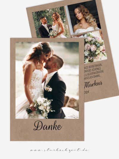 Dankeskarten Hochzeit - Liebesglück im Vintage Look, Hochzeitsfotos auf beiden Seiten