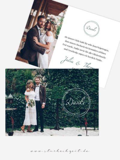 Dankeskarte Ringzauber grün mit Foto, Hochzeitsdanksagungskarte
