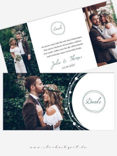 Dankeskarte Ringzauber lang, Danksagungskarte zur Hochzeit mit Foto